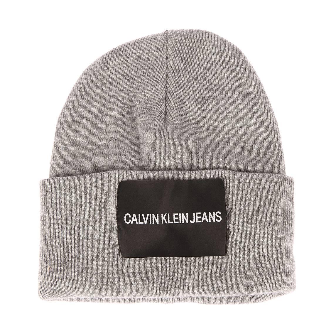 Bonnet Calvin Klein Jeans en laine et cachemire mélangés gris chiné à revers e1e4821f5268