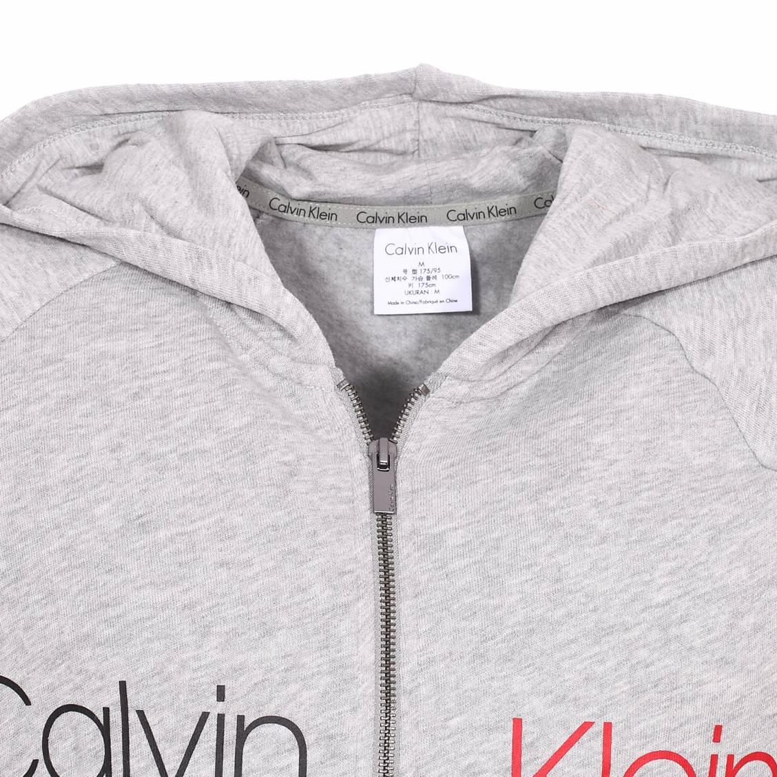 041a25f9803 ... Sweat à capuche zippé Calvin Klein en molleton gris chiné ...