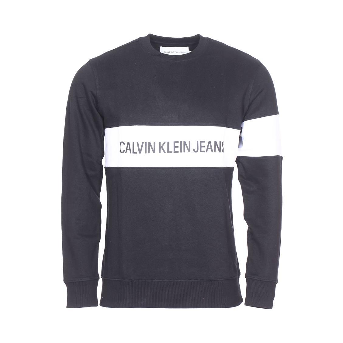 3598b6ed58d Sweat col rond Calvin Klein Jeans Stripe Institutional en coton noir floqué  ...