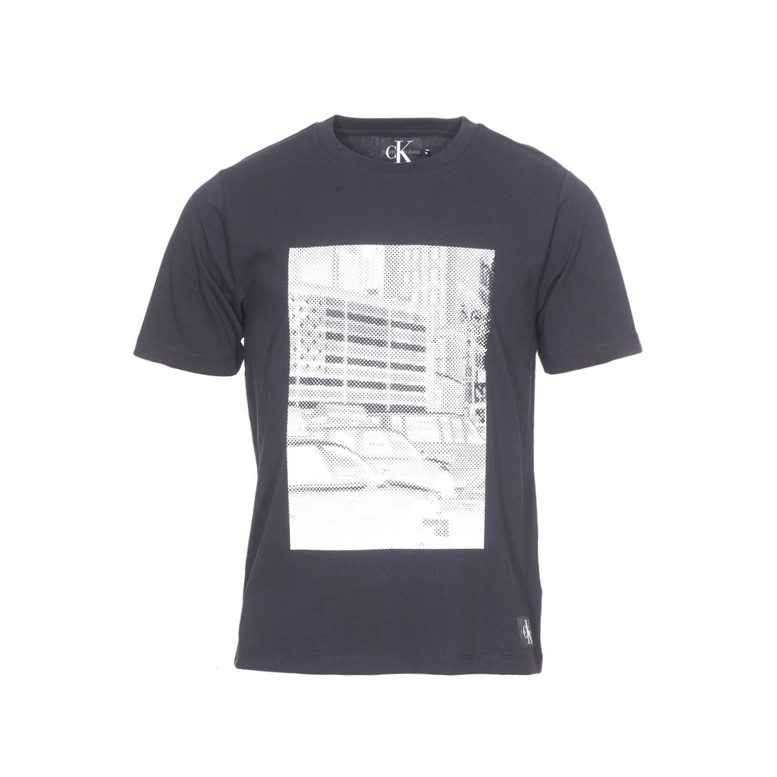 Tee-shirt col rond  pixelated graphic en coton noir floqué en blanc