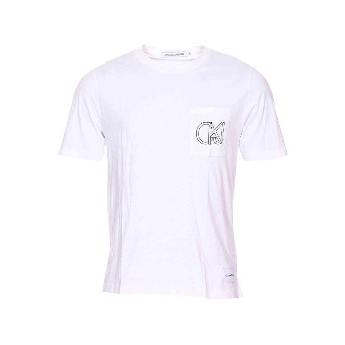 Tee-shirt col rond  graphic pocket en coton biologique blanc