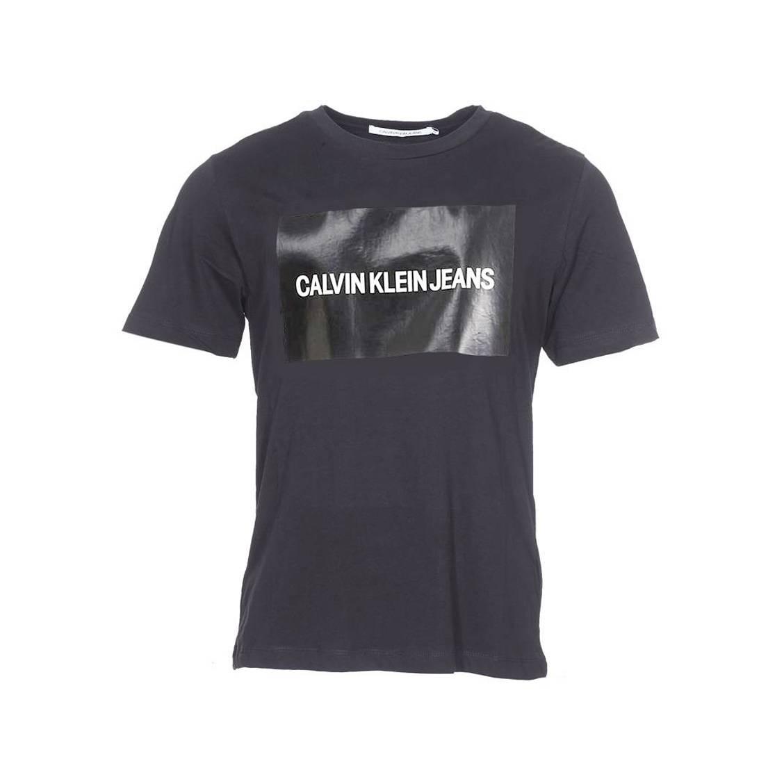Col Un Coton Noir Institutional Rond En Avec Klein Tee Logo Jeans Calvin Shirt Box v5FxqO