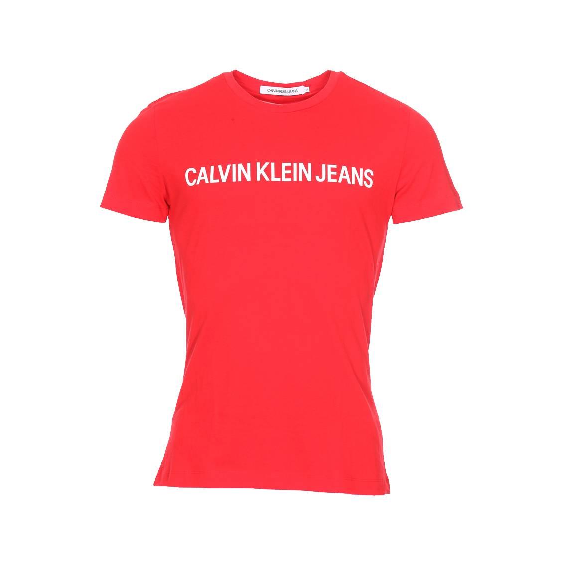 Tee-shirt col rond  institutional slim logo en coton rouge floqué en blanc