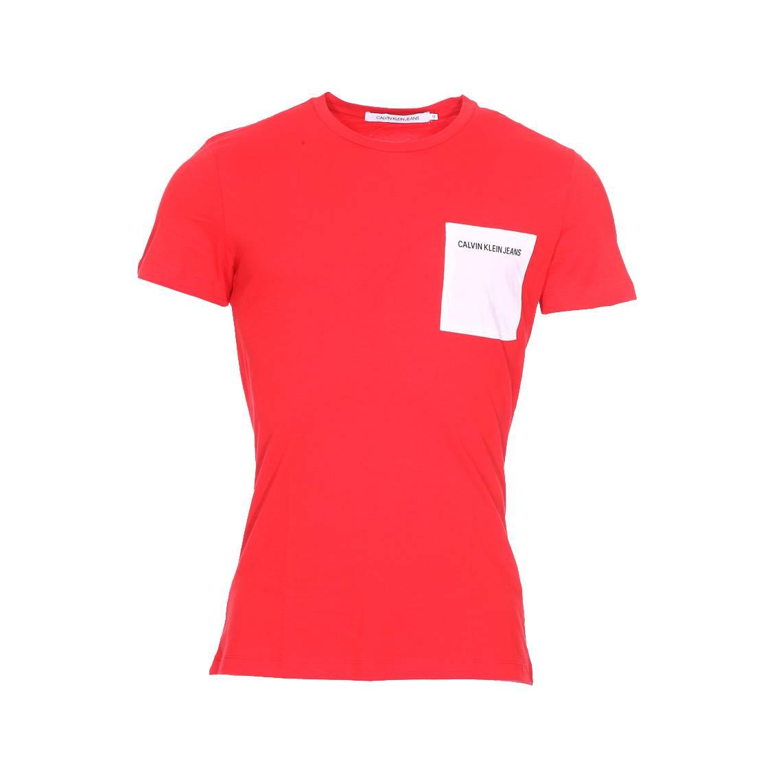 Tee-shirt col rond  pocket institutional logo slim en coton rouge à poche poitrine