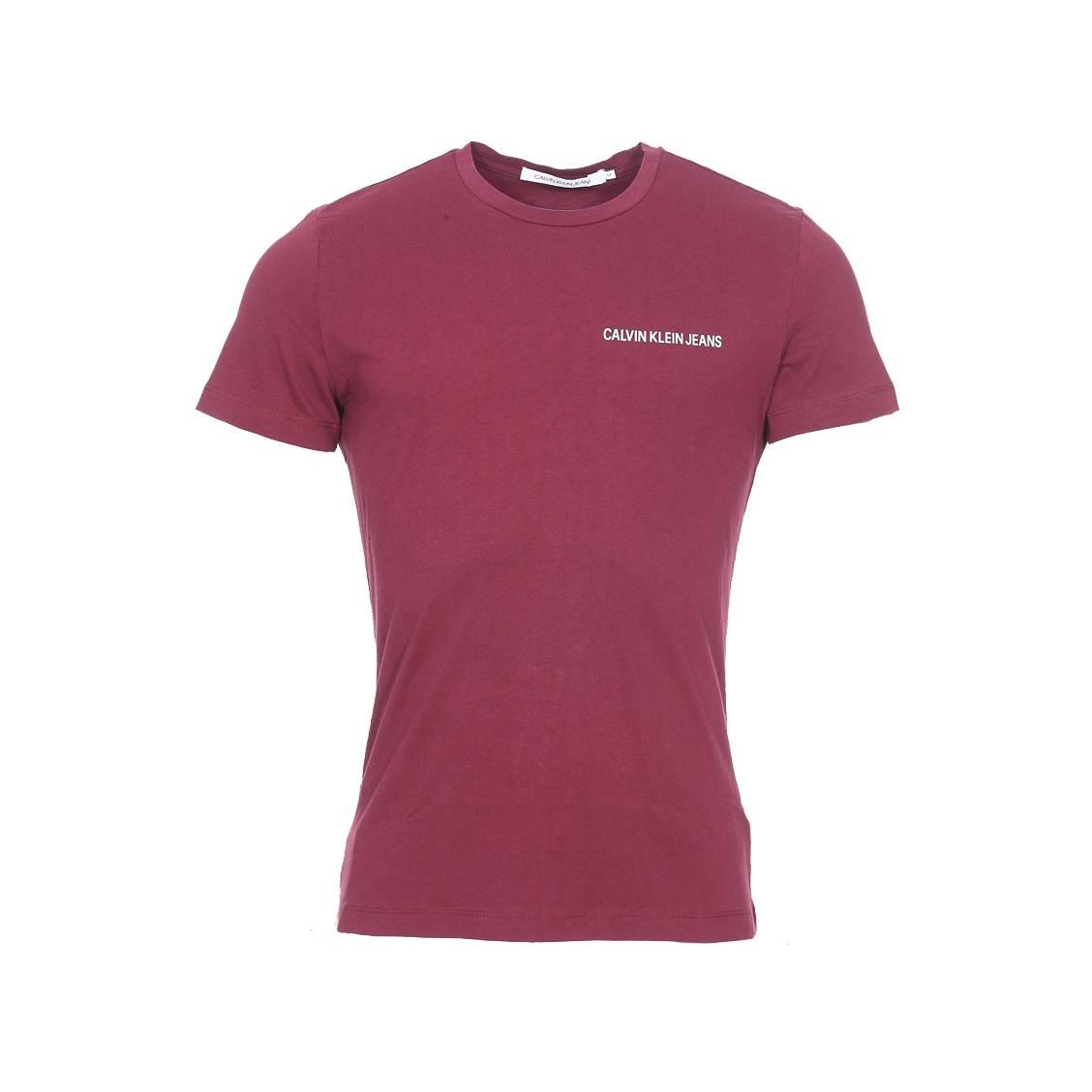 Tee-shirt slim col rond  chest institutional en coton bordeaux floqué en blanc