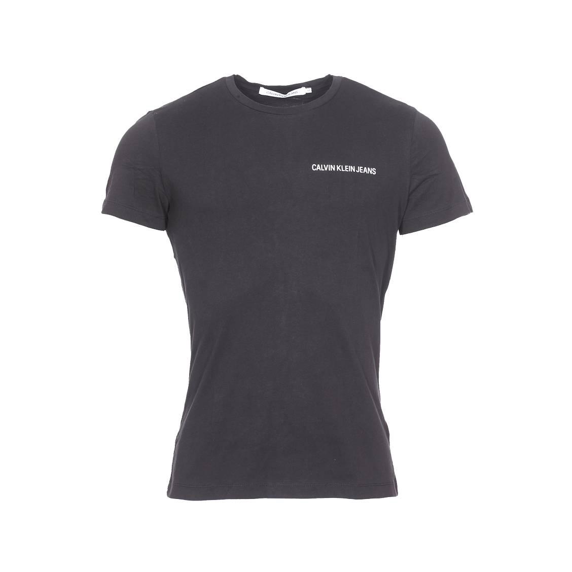 Tee-shirt slim col rond  chest institutional en coton noir floqué en blanc