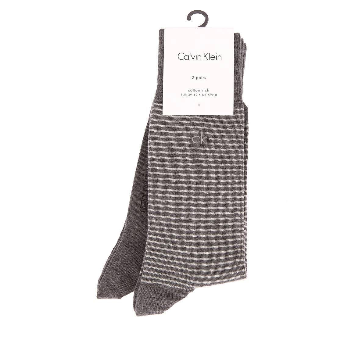 Lot de 2 paires de chaussettes calvin klein en coton peigné mélangé gris anthracite et gris anthracite à rayures