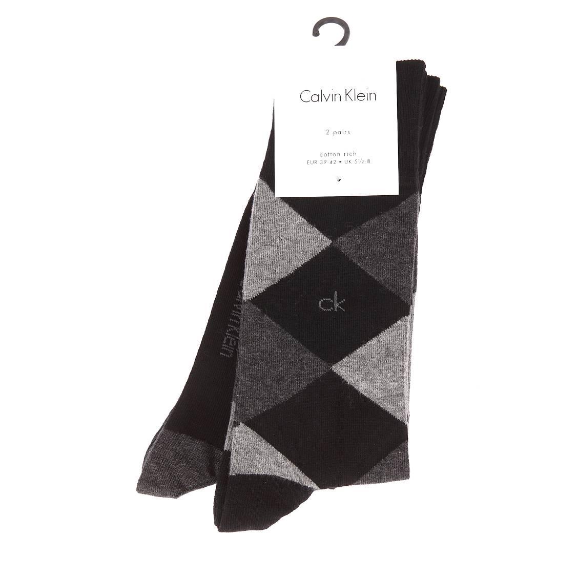 Lot de 2 paires de chaussettes calvin klein en coton peigné mélangé noir à carreaux et noir à détails contrastants