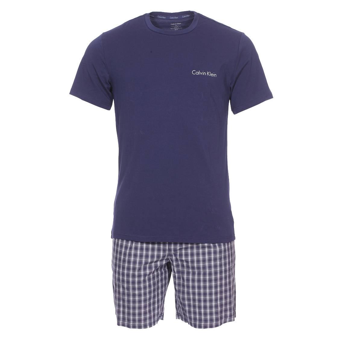 Pyjama court Short Set Calvin Klein   tee-shirt col rond bleu marine en  coton ... d4136963b34