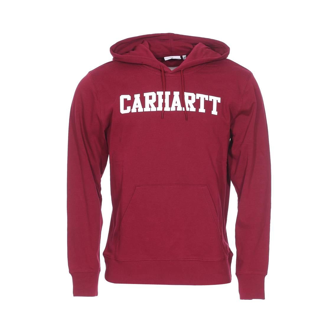 1a786f396cbf1 Sweat à capuche Carhartt WIP College en coton bordeaux floqué en blanc ...