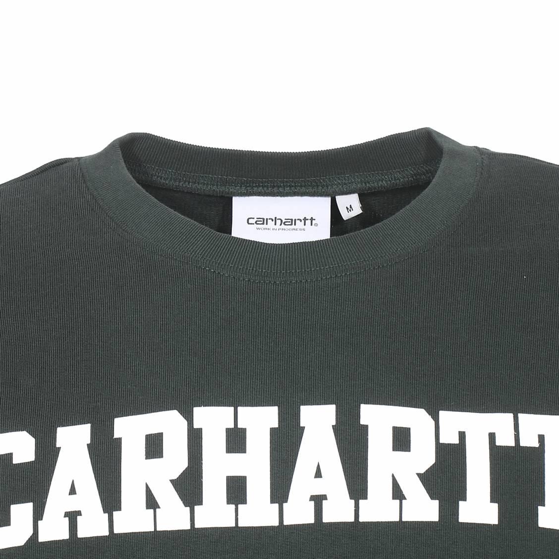 the latest 18e9a b1e01 Sweat col rond Carhartt WIP College en coton vert sapin floque en blanc-2-0 1128x1128.jpg