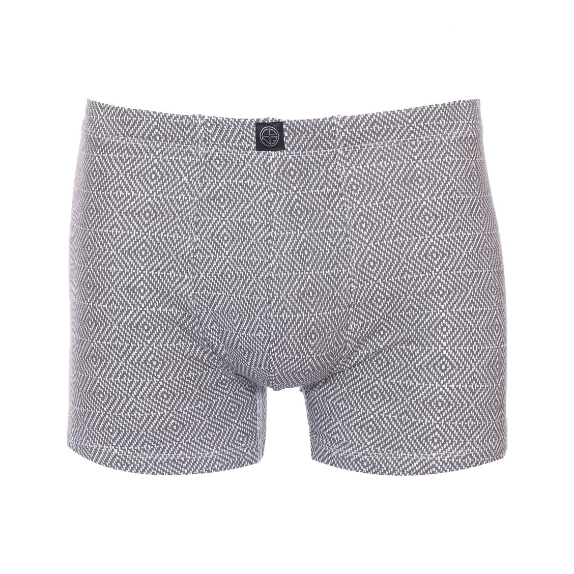Boxer  kennet en coton mélangé stretch à imprimé graphique gris et blanc
