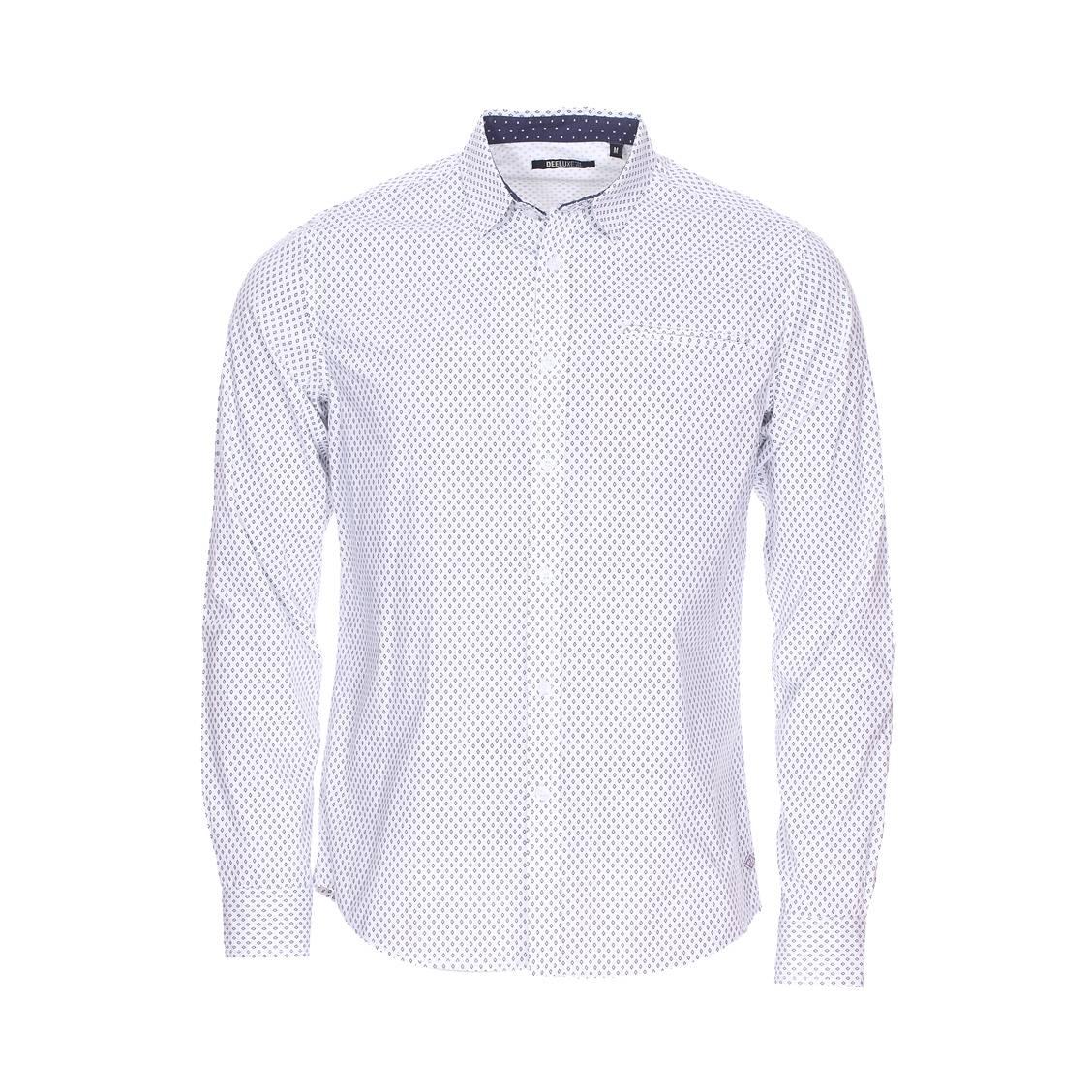 Chemise ajustée deeluxe capalino est. 74 en coton blanc à motif fantaisie bleu marine