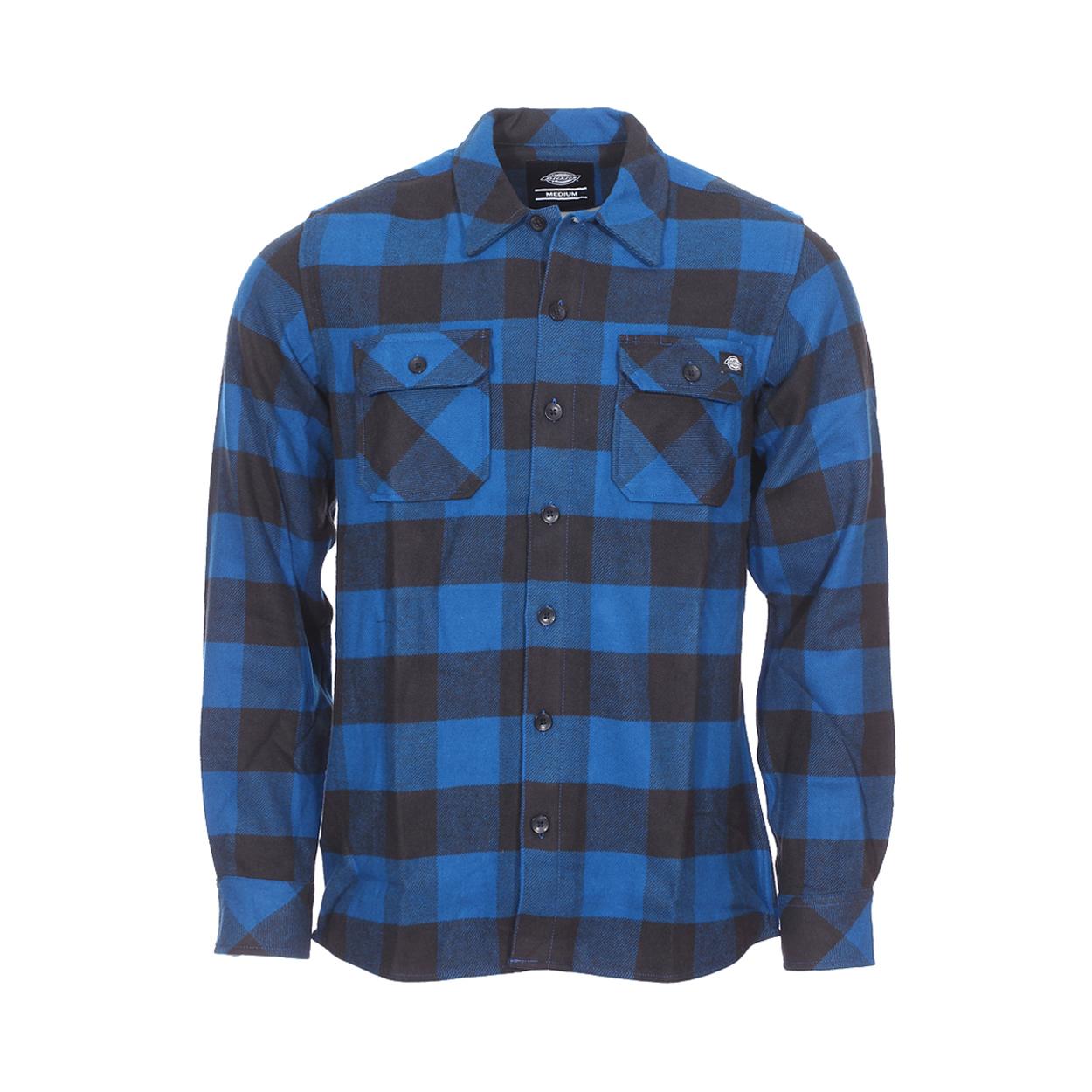 . Chemise Dickies  - Coton (100%) - Coupe droite - Manches Longues - A carreaux bleus et noirs