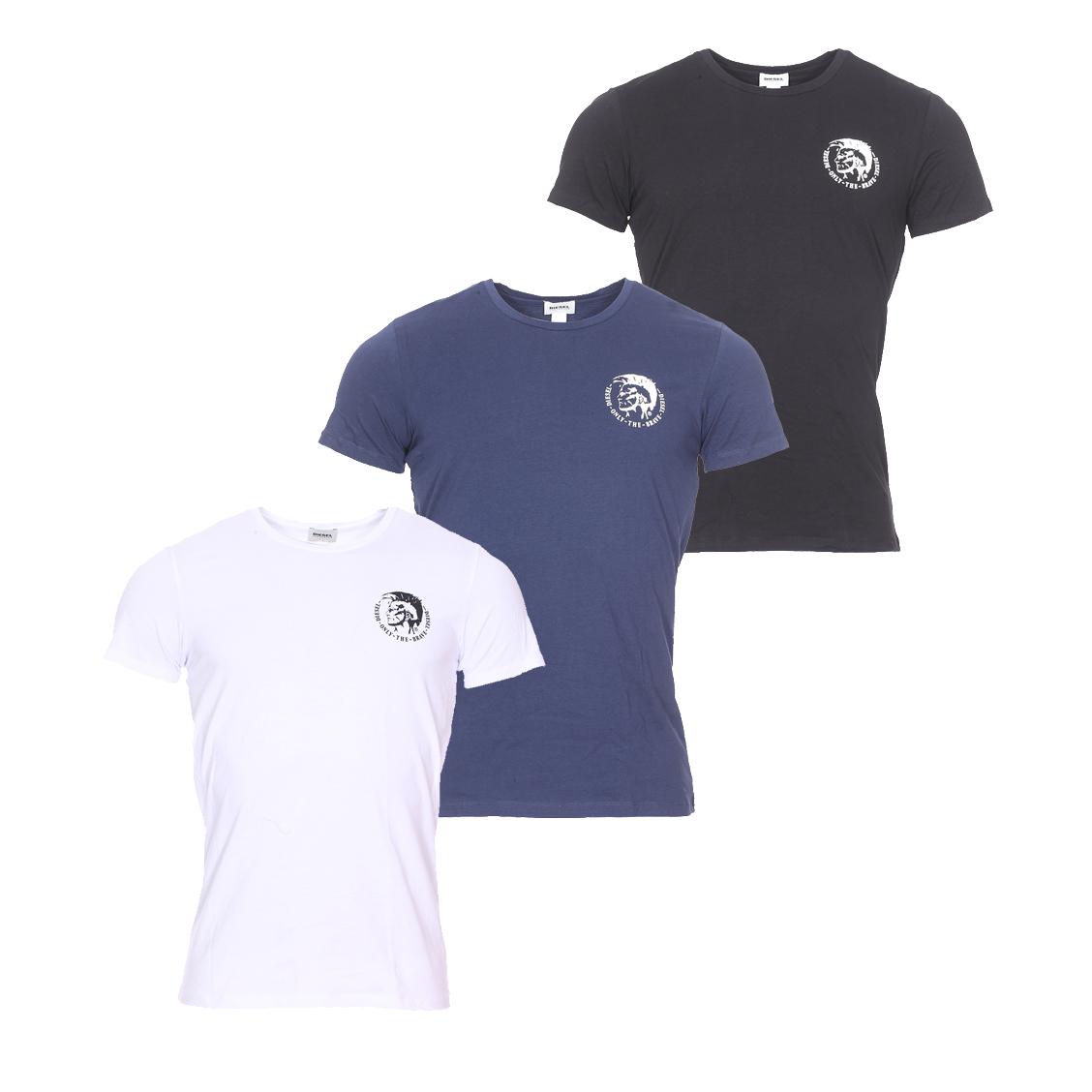 Lot de 3 tee-shirts col rond diesel randal en coton stretch noir, bleu marine et blanc floqué