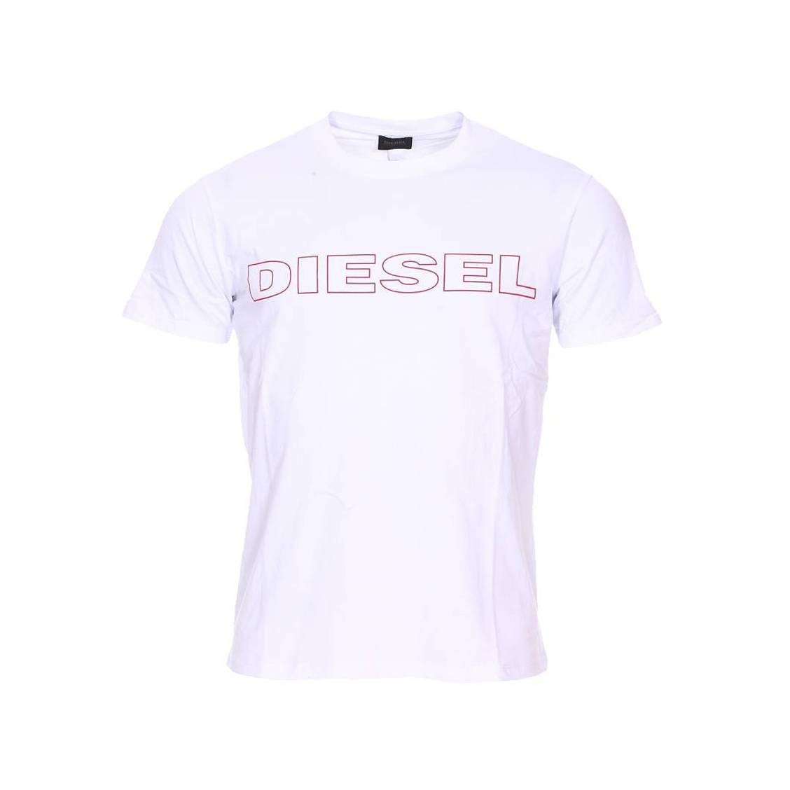 Tee-shirt col rond diesel jake en coton blanc floqué en rouge