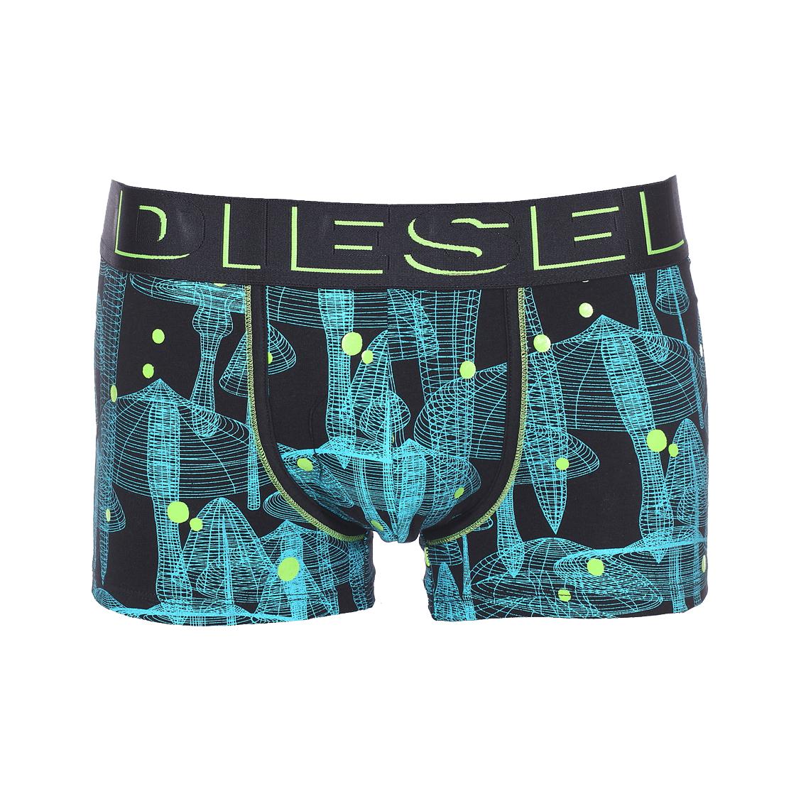 Boxer diesel damien en coton stretch noir à imprimés cyan et pois vert fluo