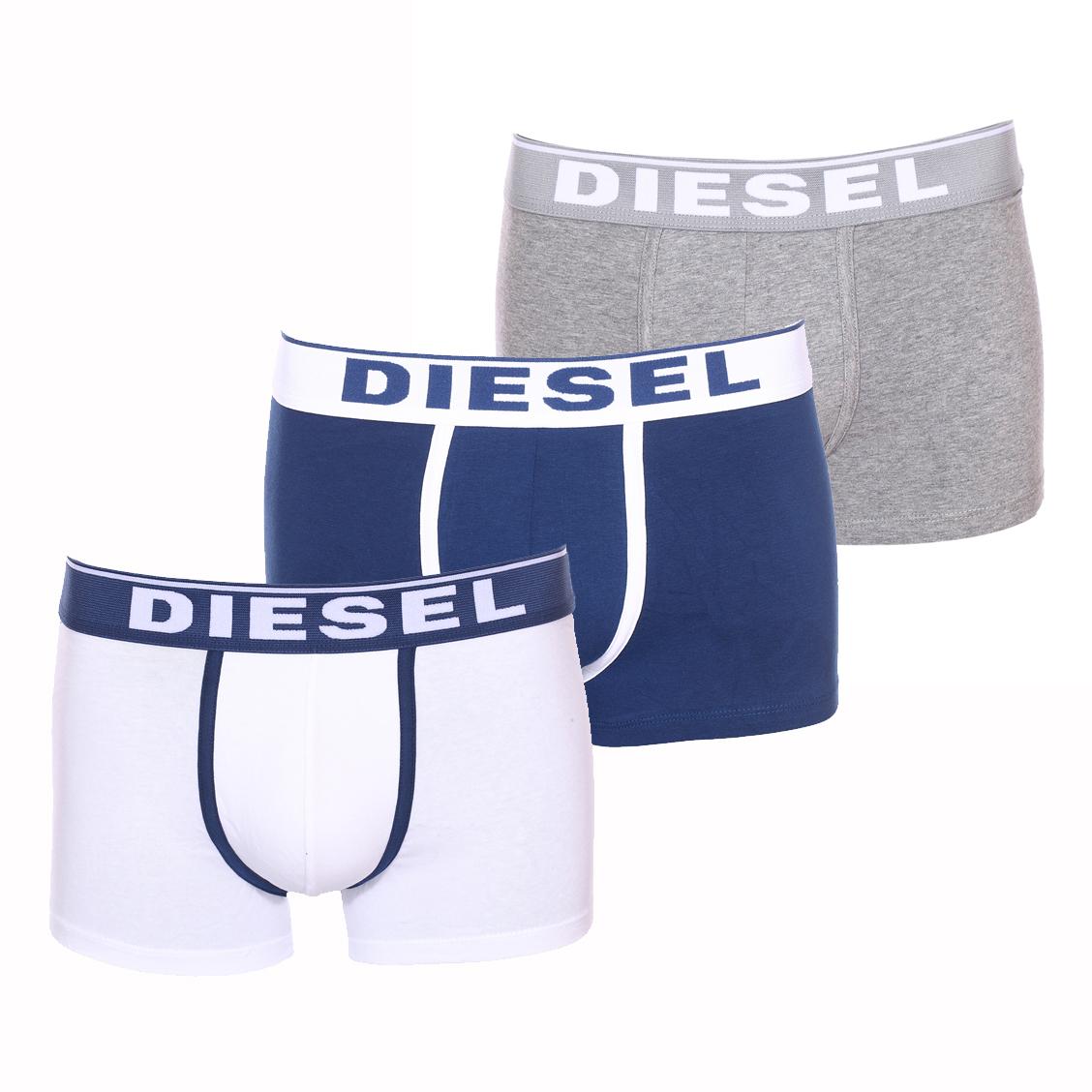 Lot de 3 boxers diesel damien en coton stretch blanc, bleu pétrole et gris chiné