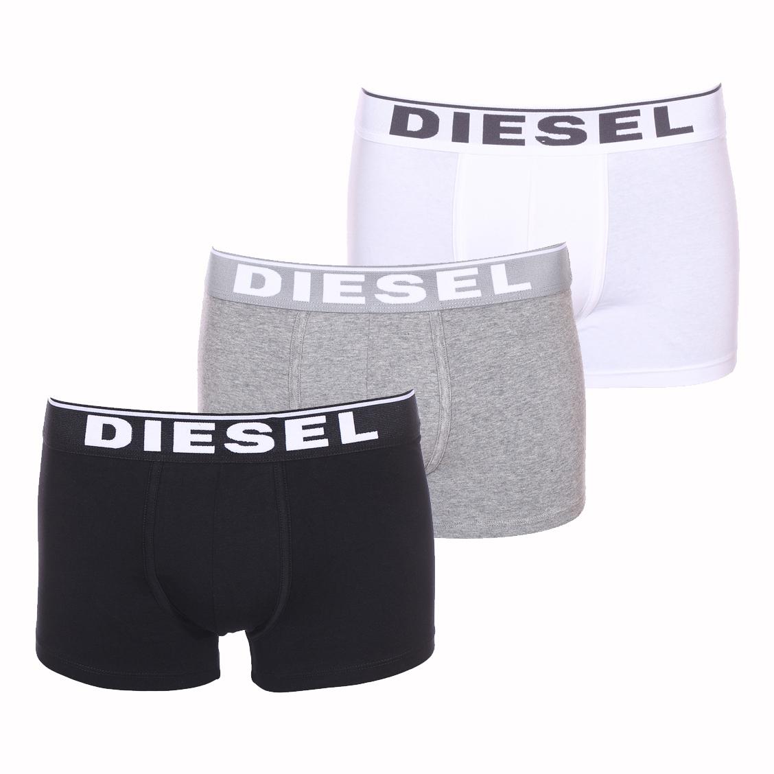 Lot de 3 boxers diesel damien en coton stretch noir, blanc et gris chiné