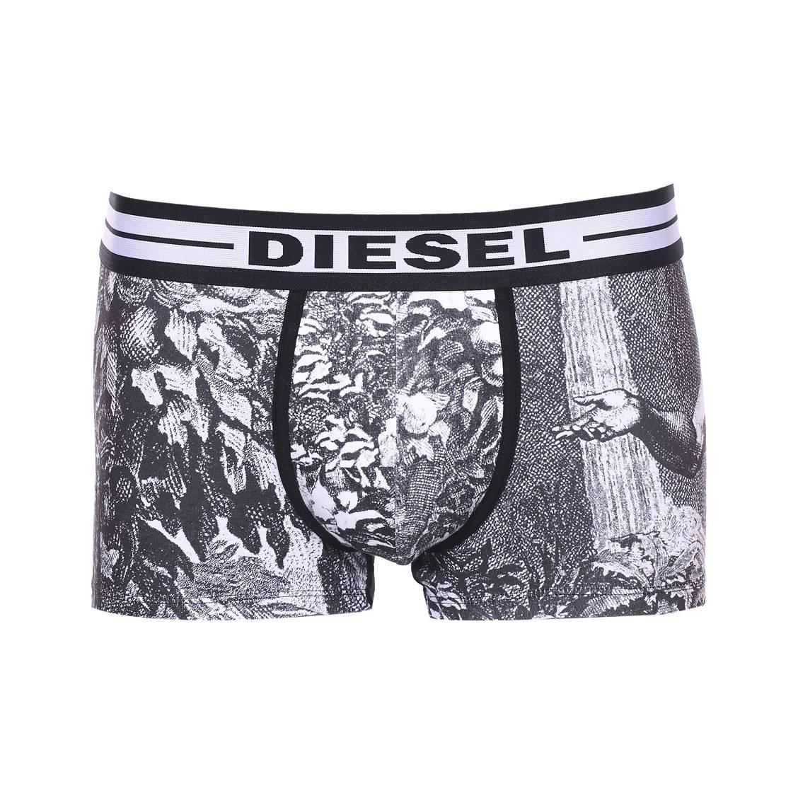 Boxer diesel damien en coton stretch gris à imprimé