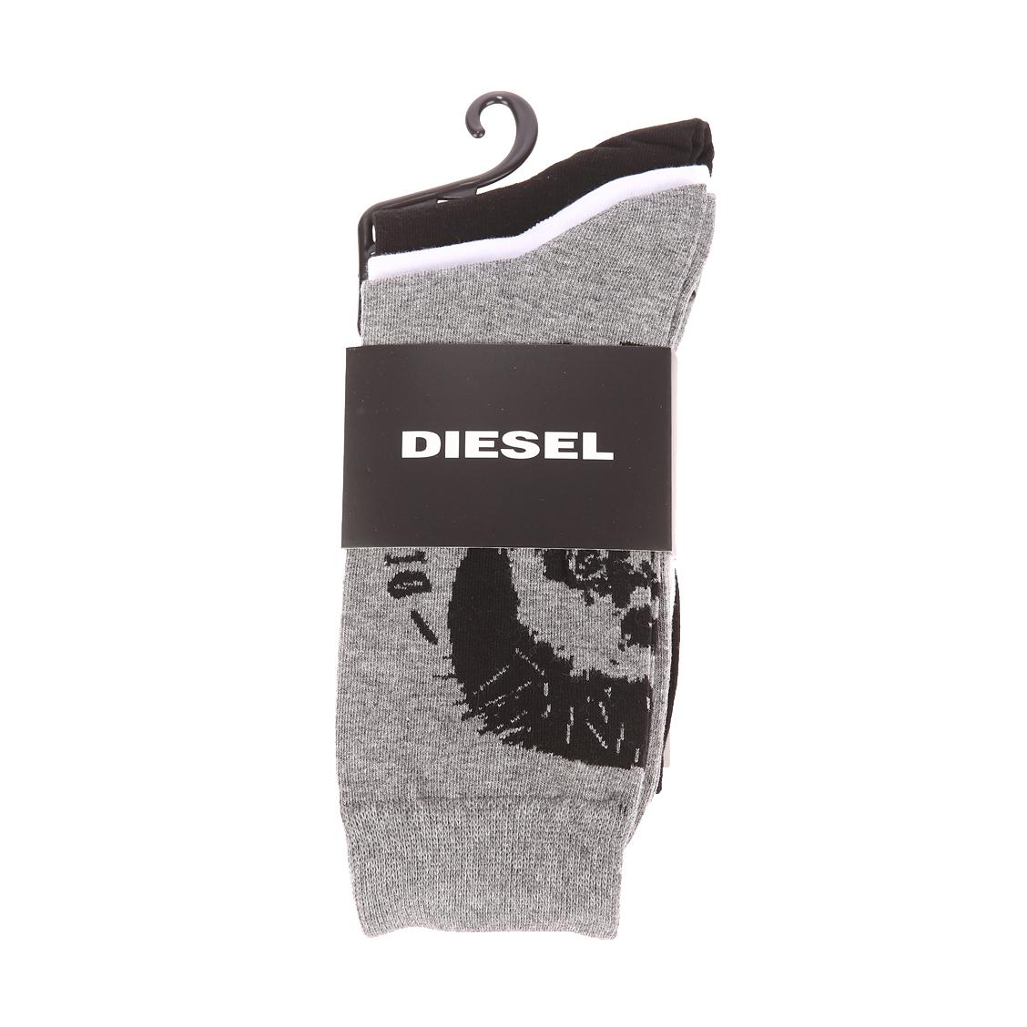 Lot de 3 paires de chaussettes diesel en coton et polyamide stretch noir, blanc et gris chiné