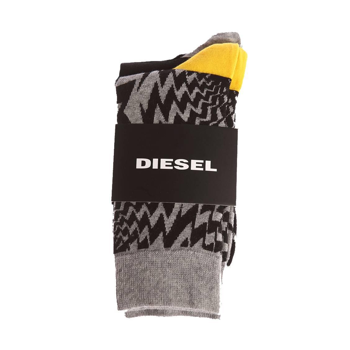 Lot de 2 paires de chaussettes diesel ray en coton mélangé stretch noir et gris chiné et gris chiné à imprimé graphique noir