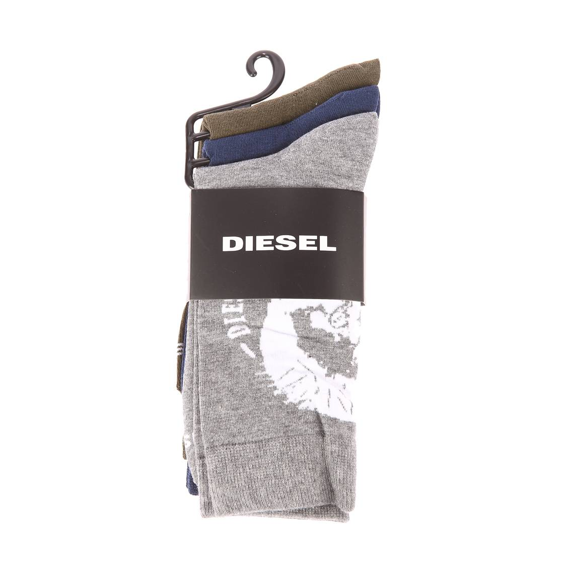 Lot de 3 paires de chaussettes diesel en coton et polyamide stretch vert kaki, bleu marine et gris chiné
