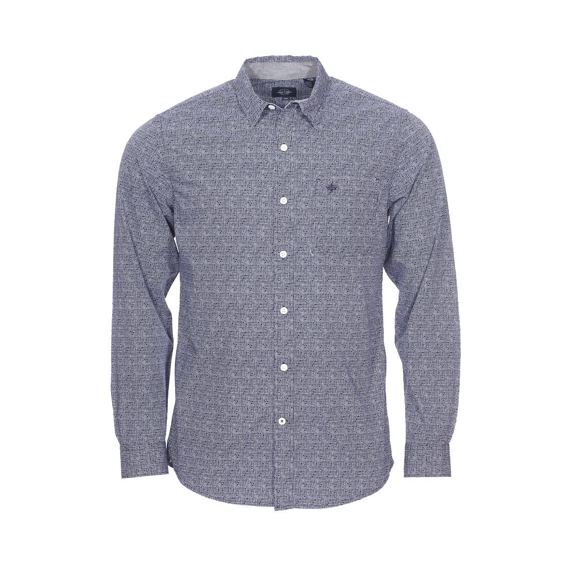 Chemise cintrée  jessie bleu marine à motif carré blanc