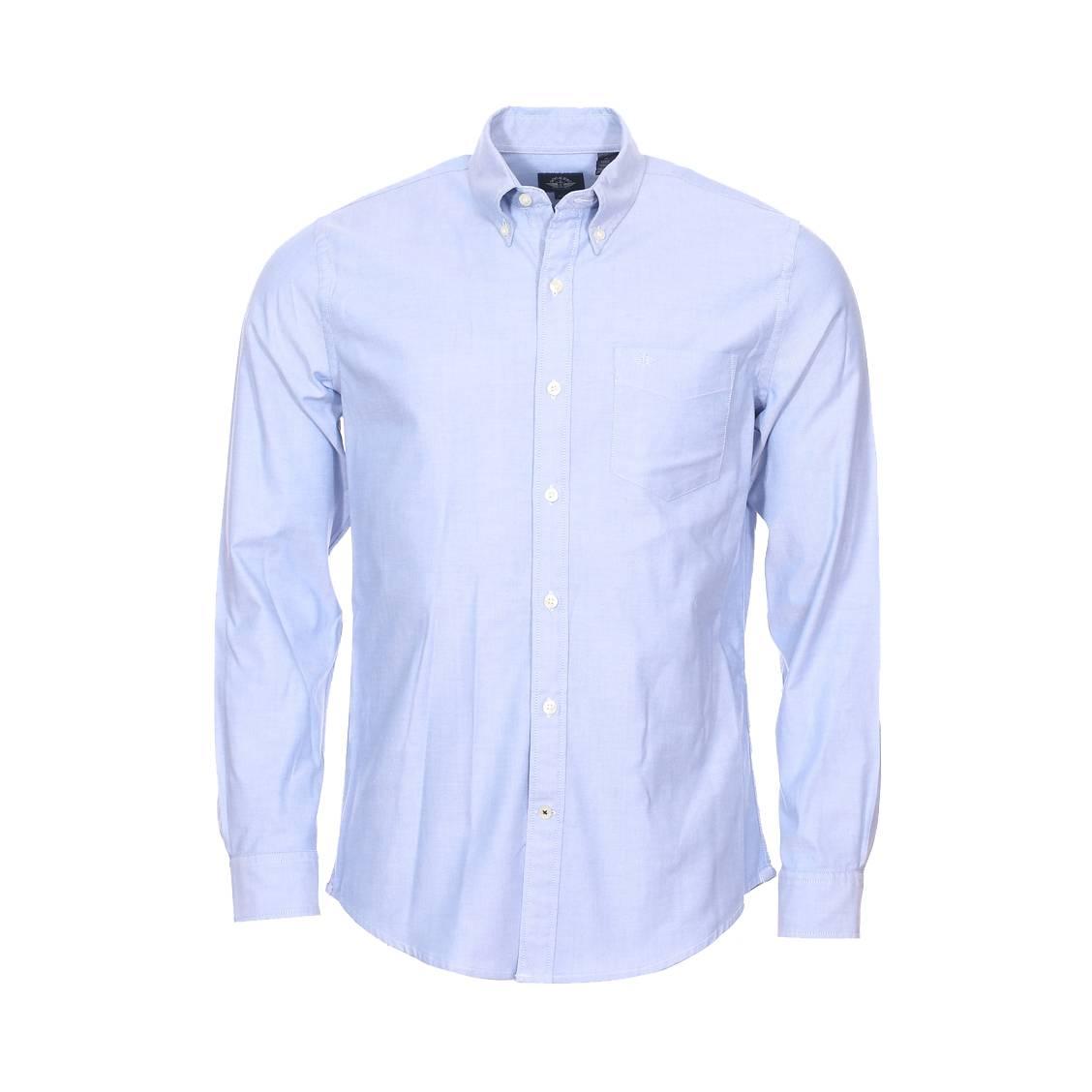 Chemise cintrée  oxford en coton stretch bleu clair