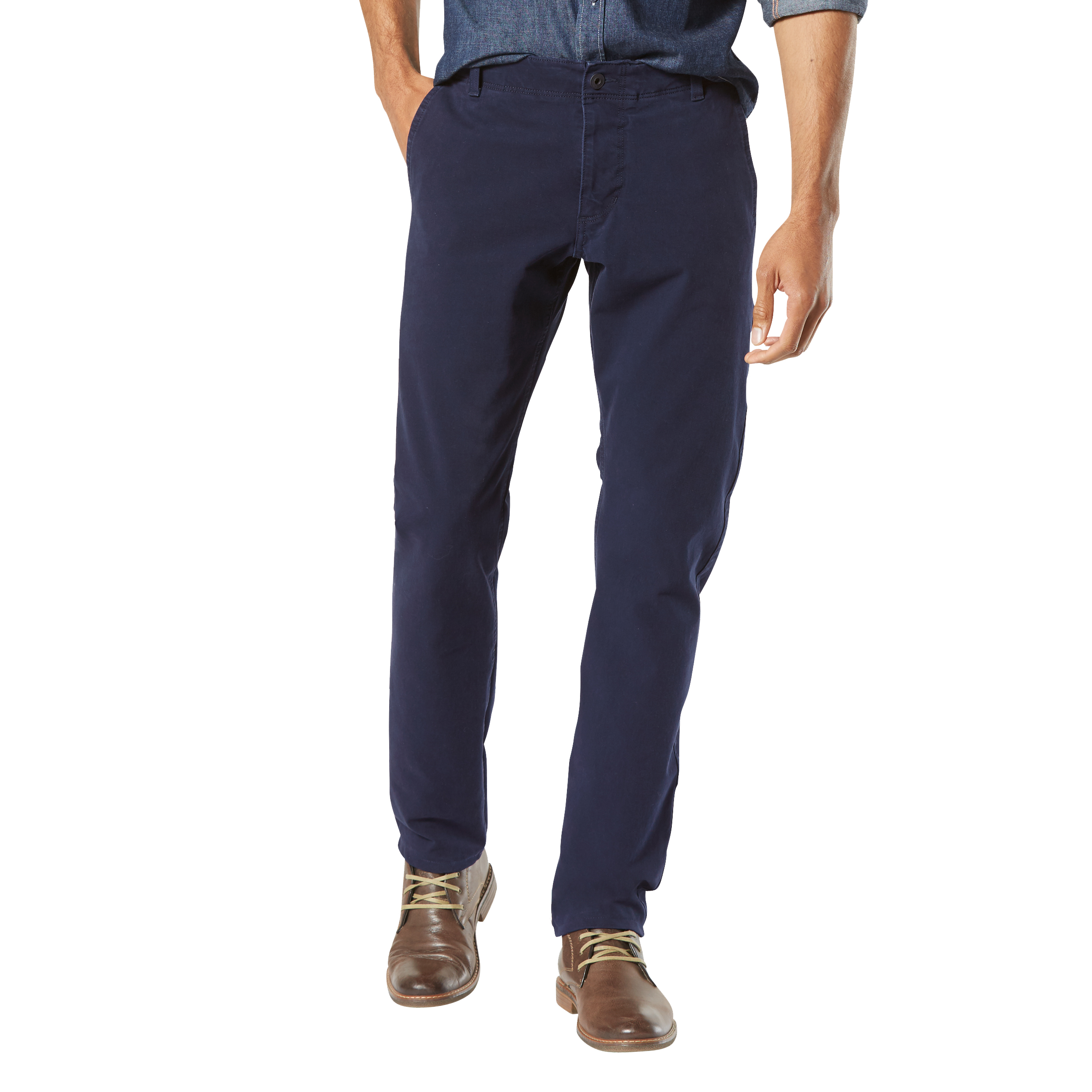 Pantalon  smart 360 flex alpha, slim tapered pembroke bleu marine