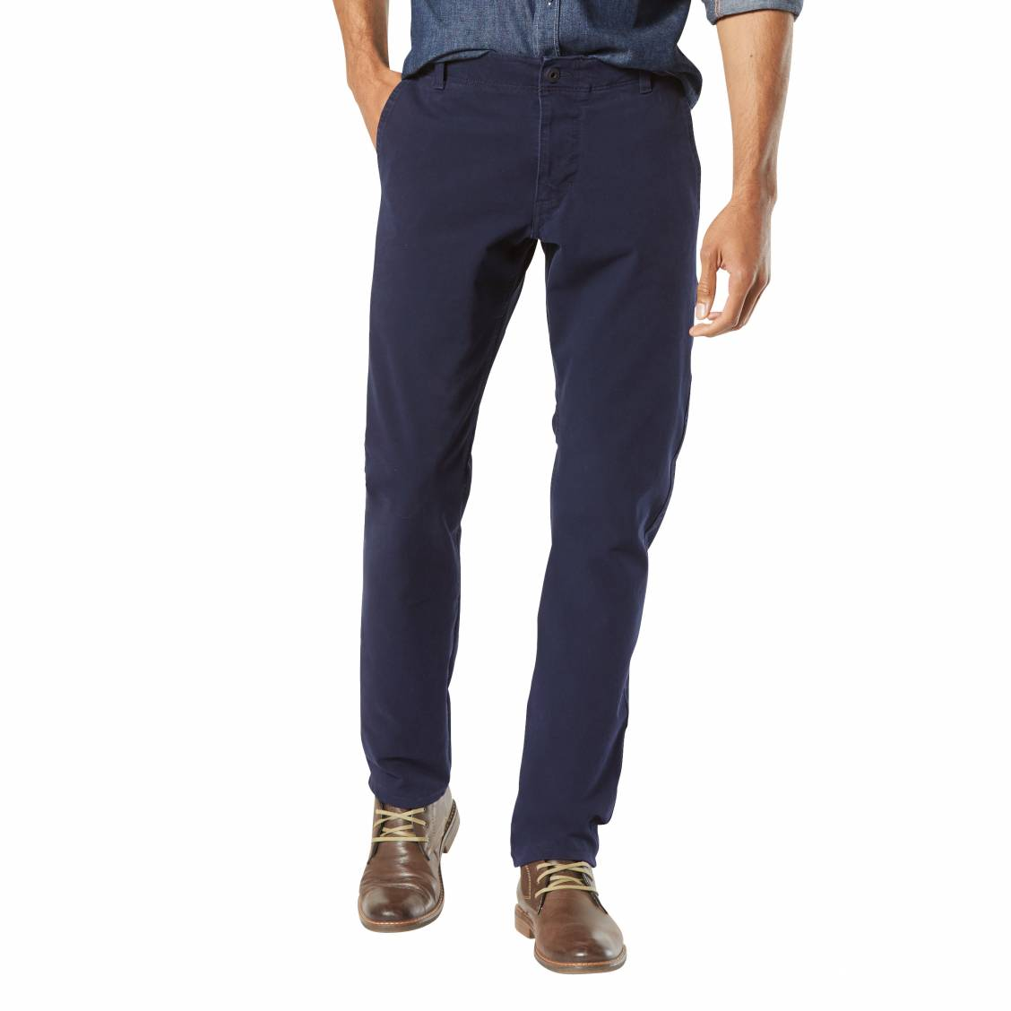 Pantalon  smart 360 flex alpha, slim tapered pembroke bleu marine