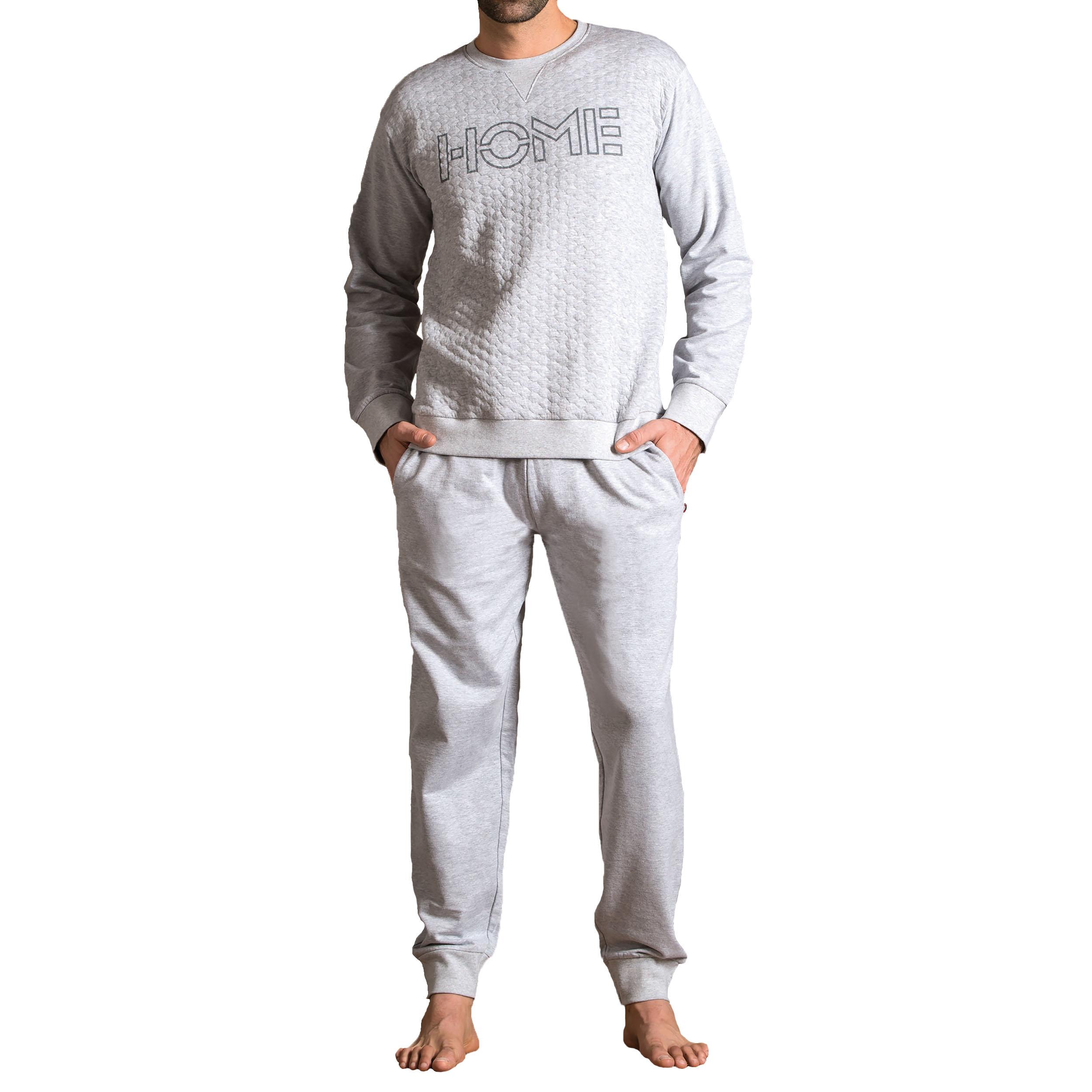 Pyjama long Dodo Univ en molleton : sweat col rond gris chiné à effet matelassé, pantalon gris chiné