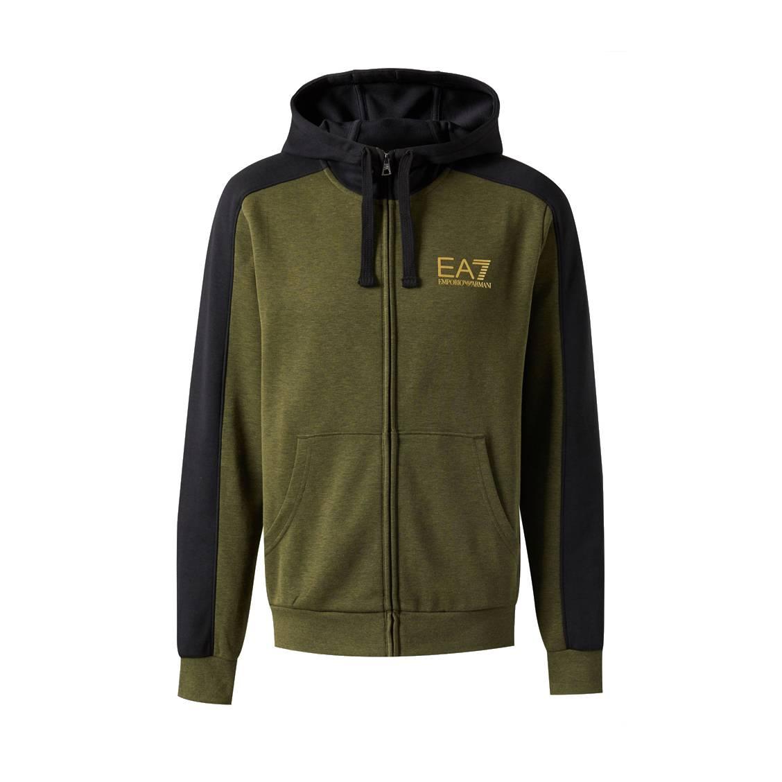 free shipping 9d2a8 df615 Sweat zippe EA7 en coton vert chine et noir floque en noir et dore-1-2 1128x1128.jpg
