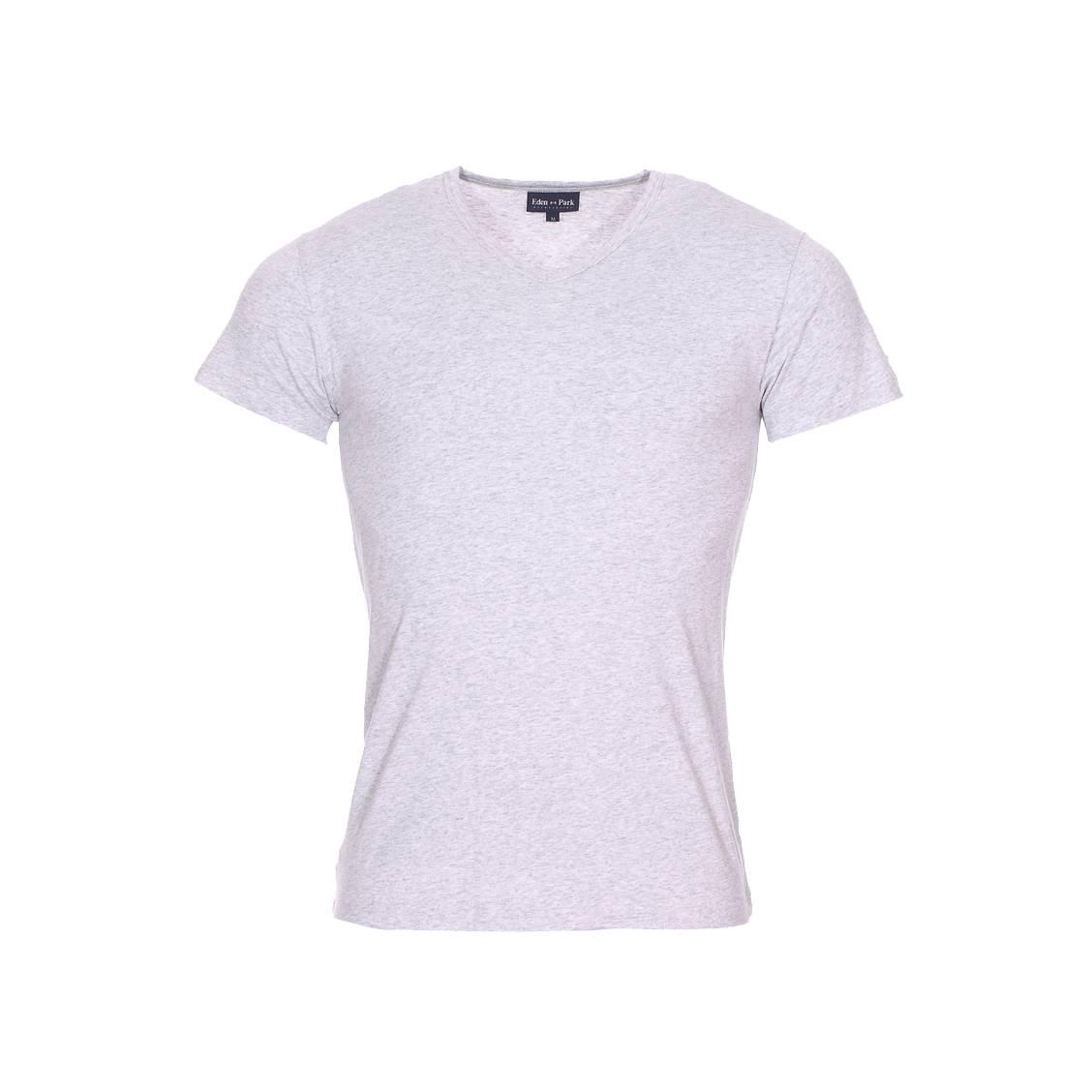 Tee-shirt col v eden park en coton stretch gris chiné