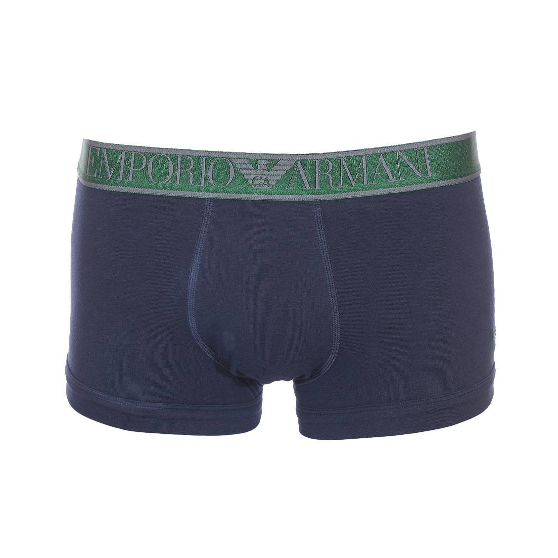 Boxer  en coton stretch bleu marine à ceinture vert bouteille