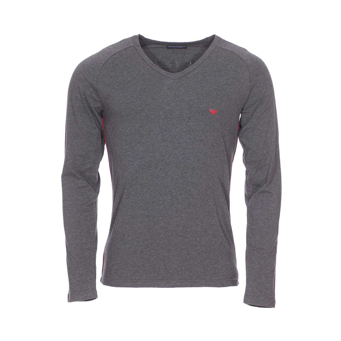 Tee-shirt manches longues col v  en coton stretch gris anthracite chiné