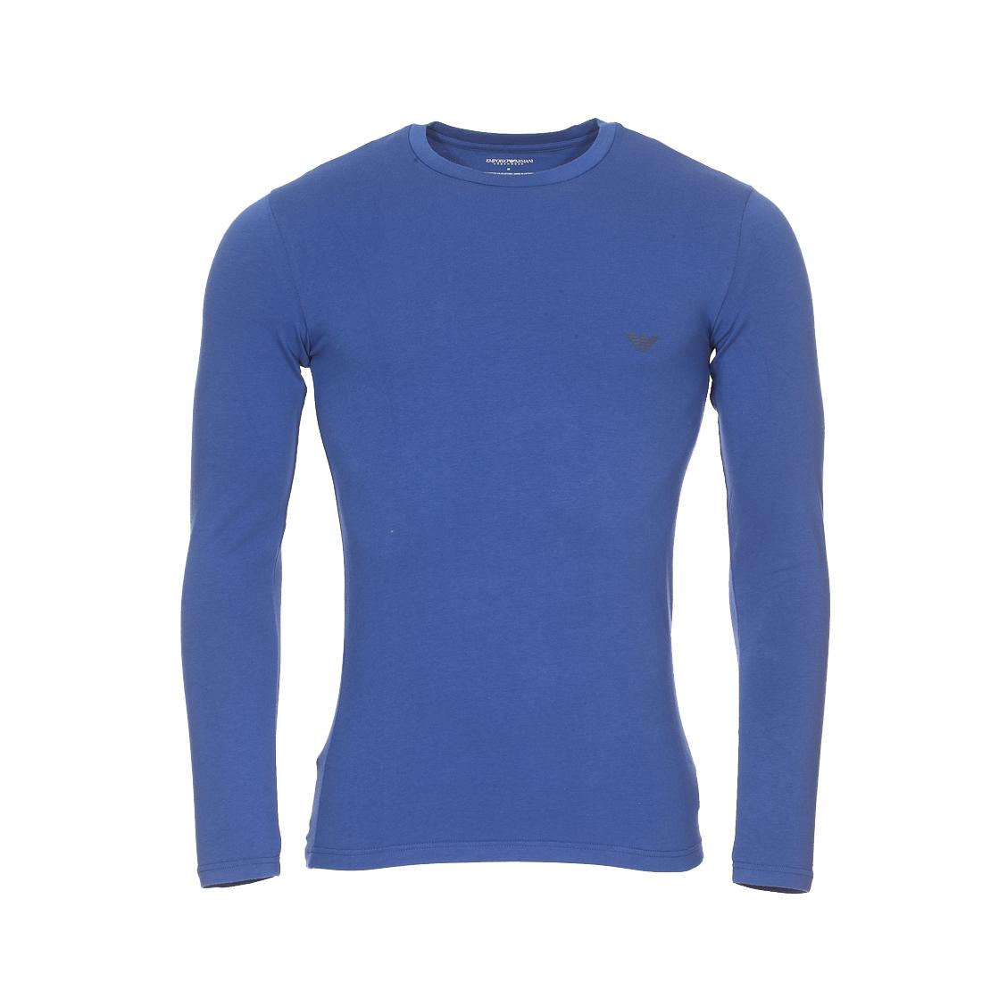 Tee-shirt manches longues col rond  en coton stretch bleu indigo floqué du logo eagle sur la poitrine et dans le dos