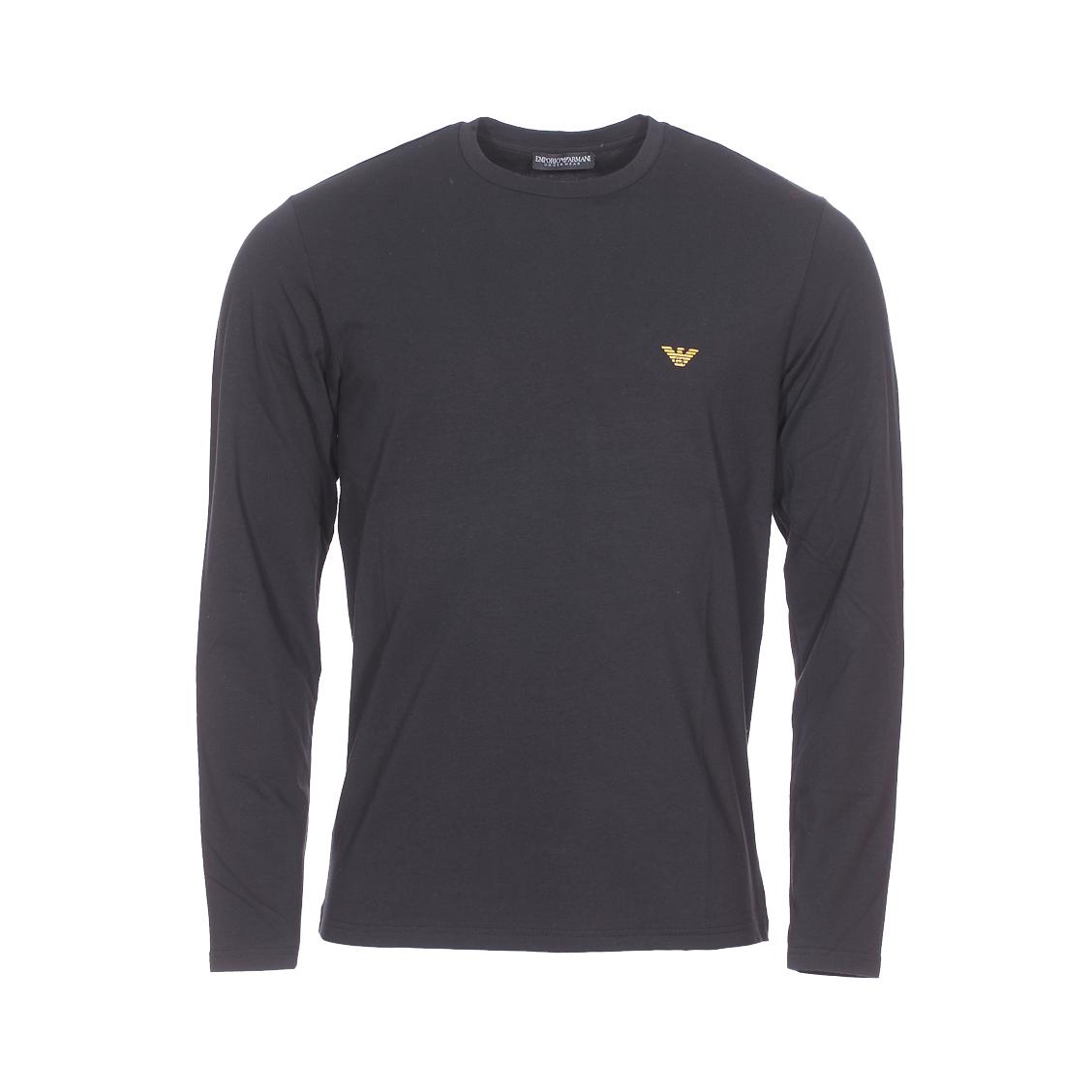 Tee-shirt manches longues col rond  en coton stretch noir floqué sur la poitrine et au dos