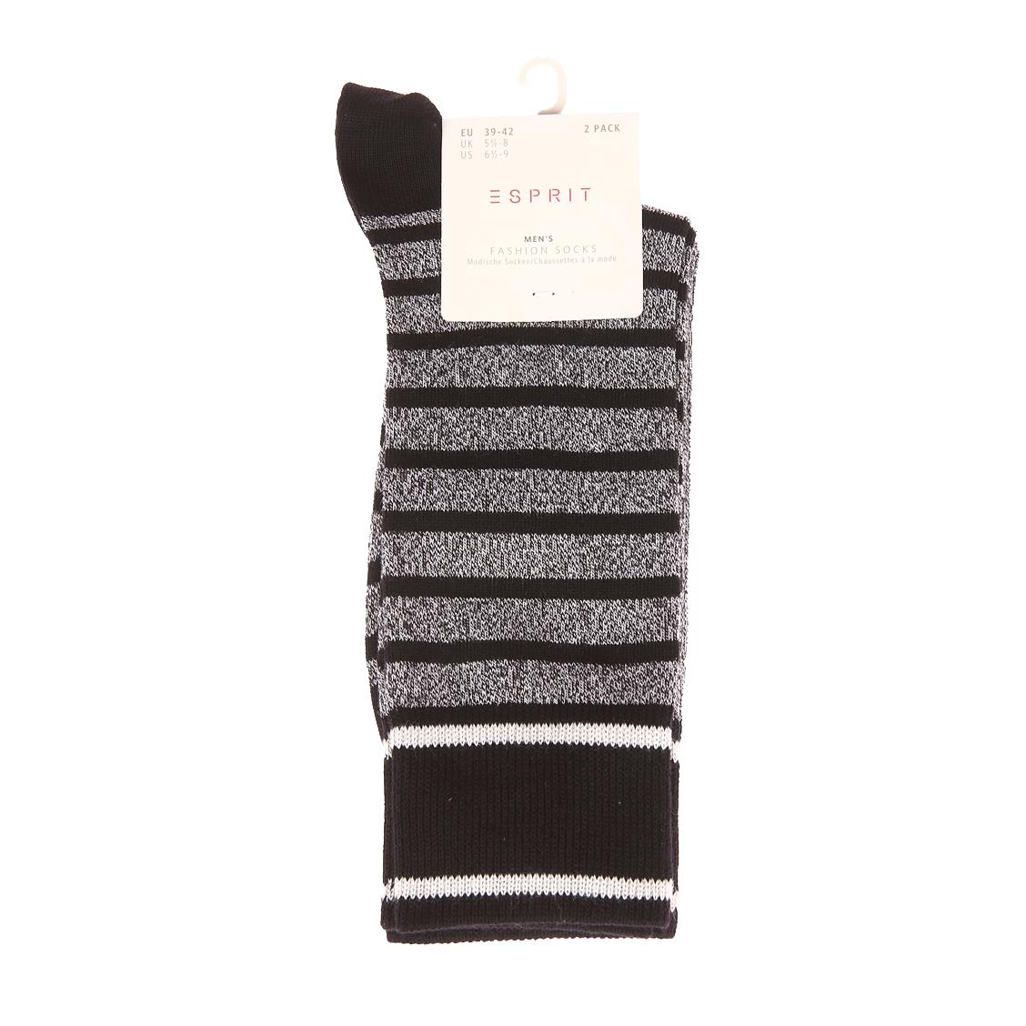 Lot de 2 paires de chaussettes  en coton mélangé à rayures noires et blanc chiné