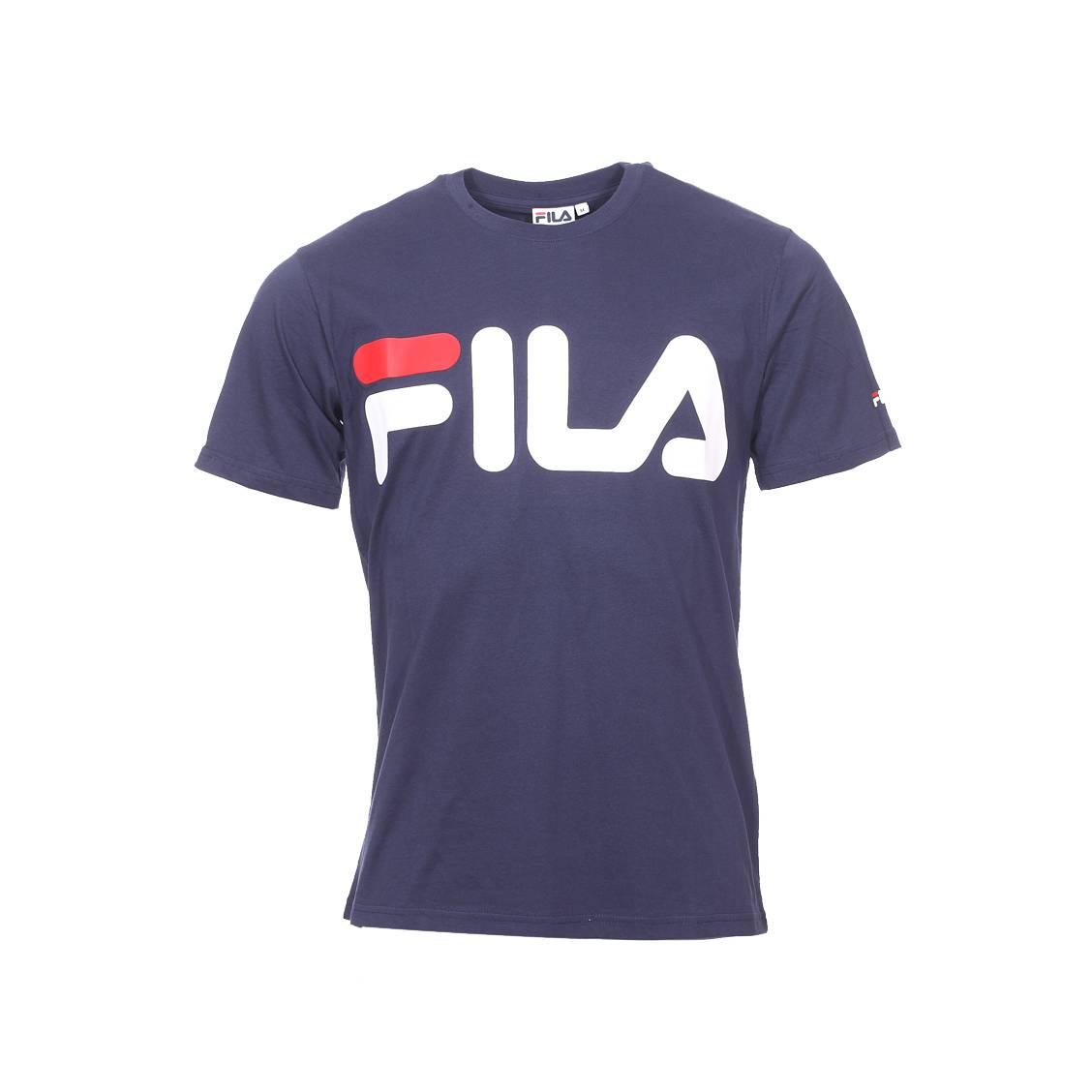 vente en magasin prix fou quantité limitée Tee-shirt col rond Fila Classic Logo en coton bleu marine floqué | Rue Des  Hommes