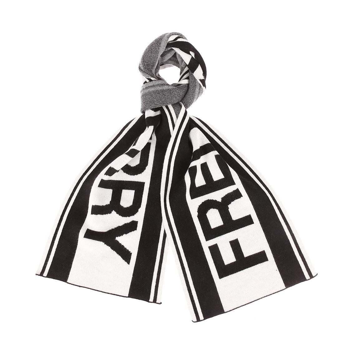 Echarpe  en laine mélangée noire et blanche à logo