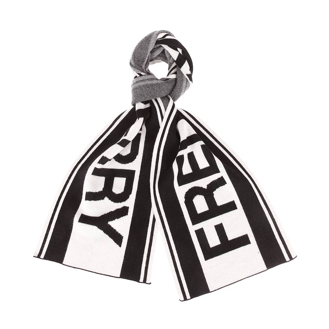 Echarpe Fred Perry en laine mélangée noire et blanche à logo