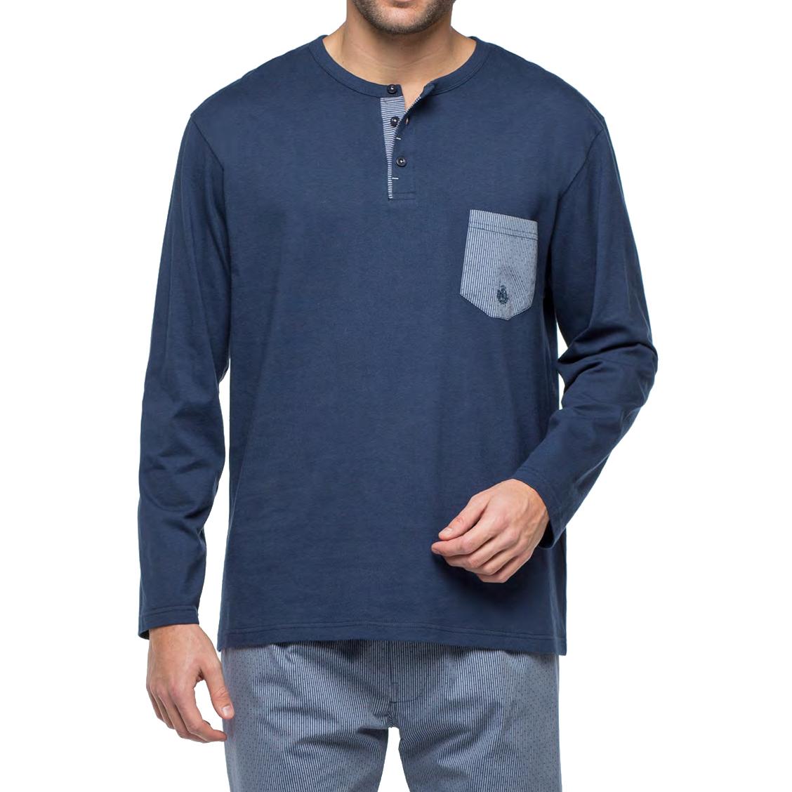 Pyjama long Guasch bi-matière : tee-shirt manches longues col tunisien en jersey de coton bleu  marine et pantalon en popeline de coton à rayures fantaisies