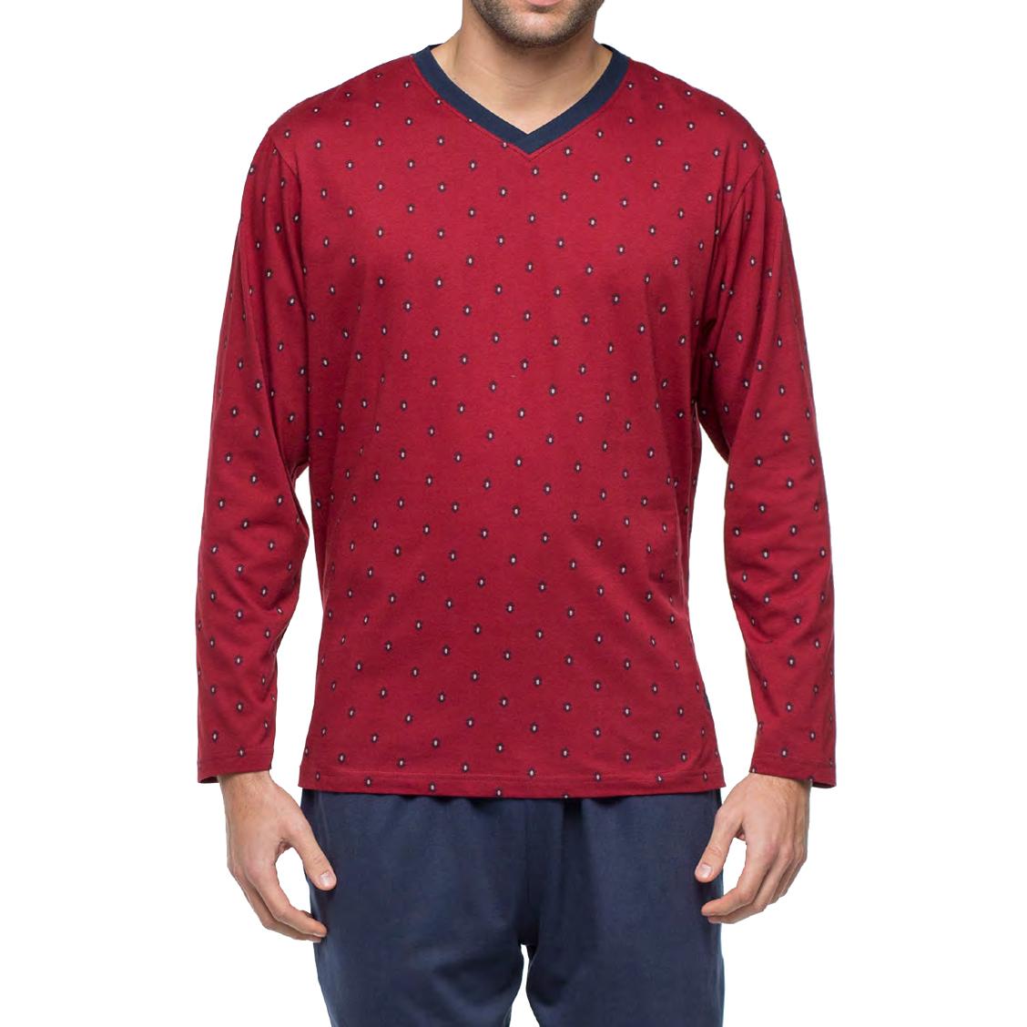Pyjama long Guasch en jersey de coton : tee-shirt manches longues col V bordeaux à motifs et pantalon bleu marine