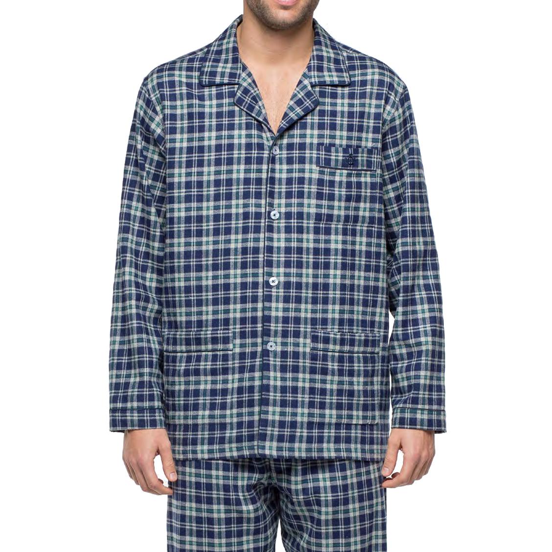 Pyjama long Guasch en flanelle de coton : veste boutonnée et pantalon à carreaux bleu marine, vert et gris