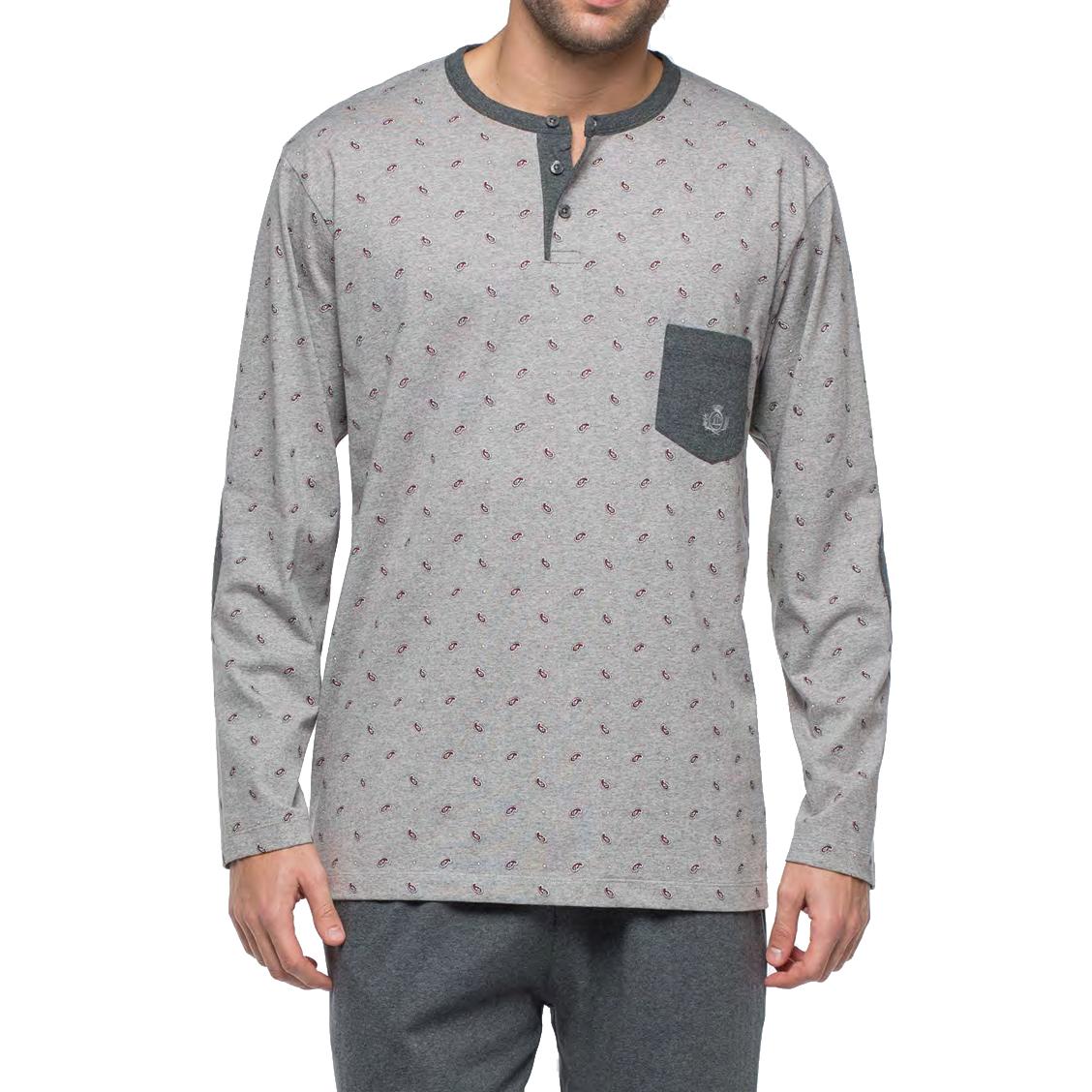 Pyjama long Guasch en jersey de coton : tee-shirt manches longues col tunisien gris chiné à motifs et pantalon gris anthracite chiné