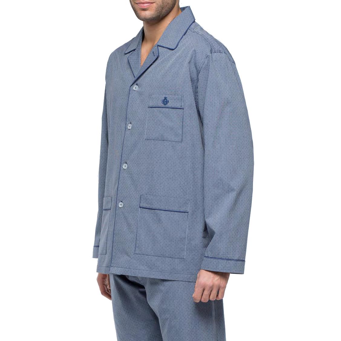 Pyjama long Guasch en popeline de coton : veste boutonnée et pantalon bleu marine à rayures fantaisies blanches