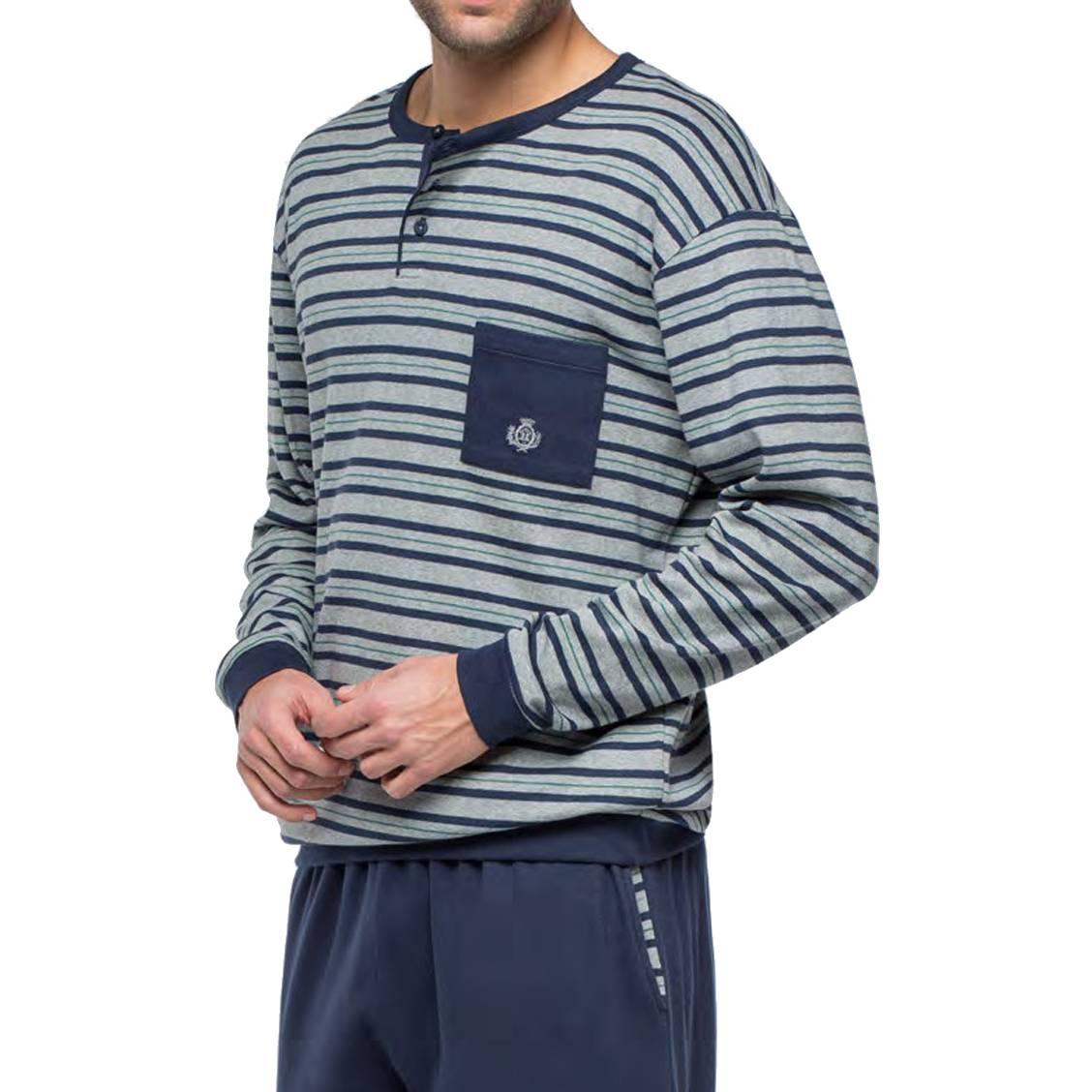 Pyjama long Guasch en coton forme jogging : sweat col tunisien à rayures bleu marine, vertes et gris chiné et pantalon bleu marine