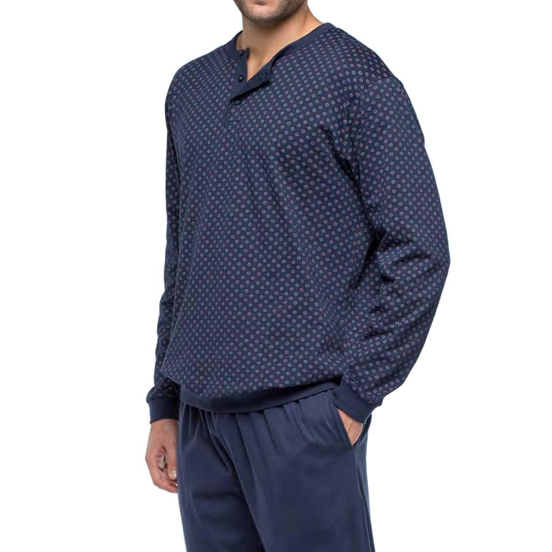 Pyjama long Guasch en coton forme jogging : sweat col tunisien bleu marine à motifs et pantalon bleu marine