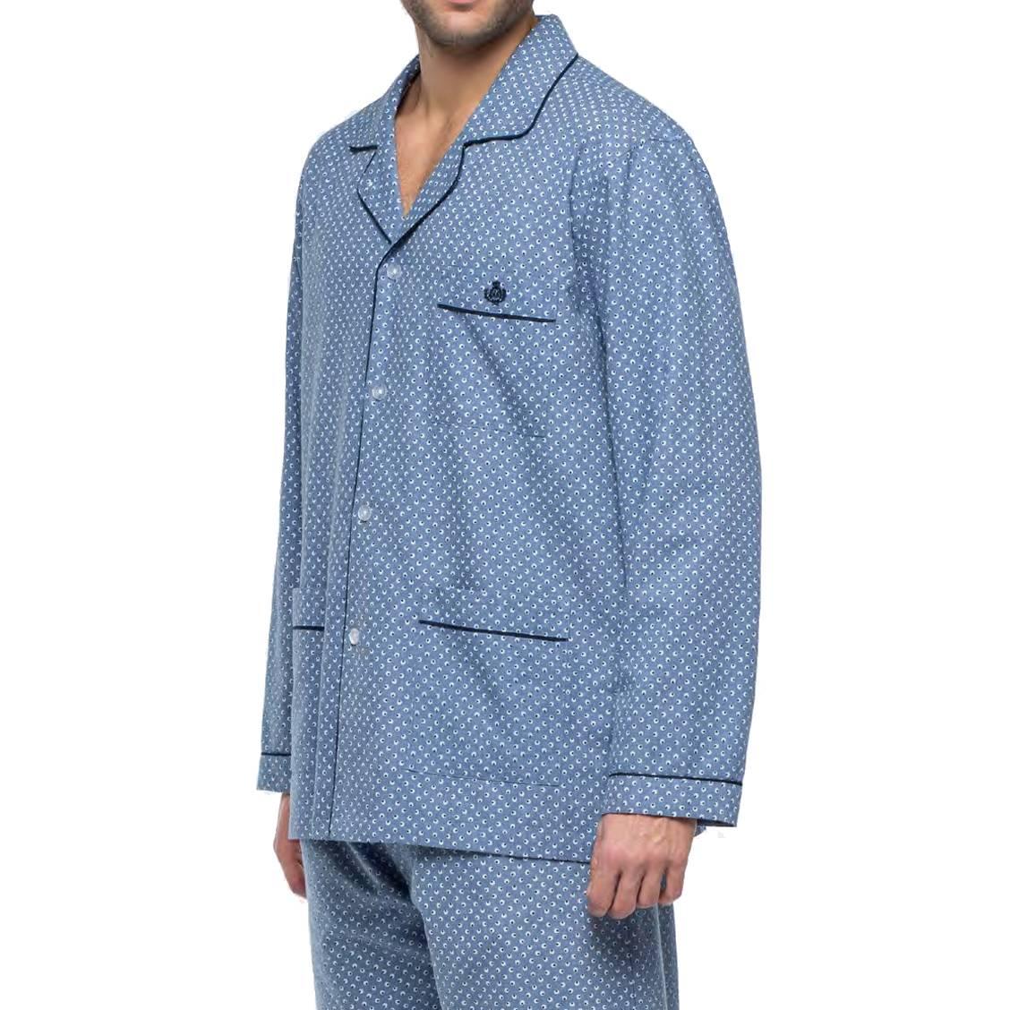 Pyjama long Guasch en coton : veste boutonnée et pantalon bleu chiné à motifs